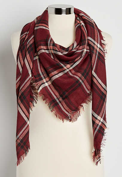 Burgundy Plaid Square Scarf