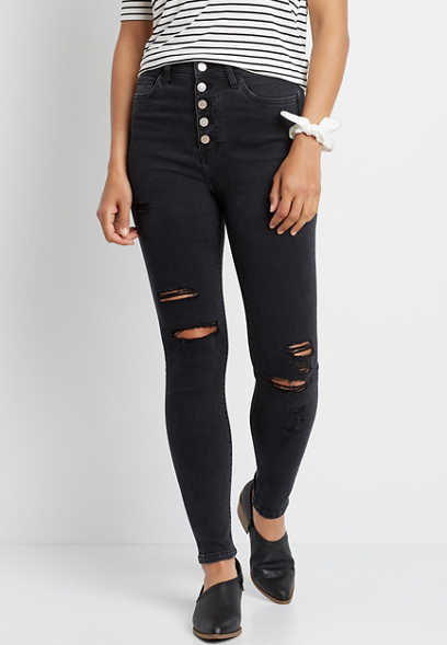 Flying Monkey™ Super High Rise Black Button Fly Destructed Skinny Jean