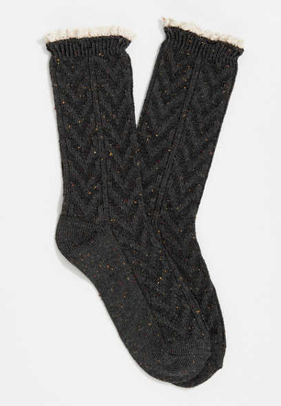 Charcoal Color Chevron Crochet Trim Crew Socks