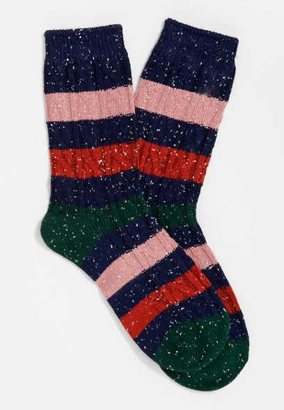 Multi Colorblock Marled Crew Sock