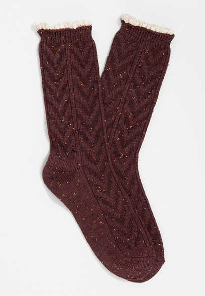 Burgundy Chevron Crochet Trim Crew Socks