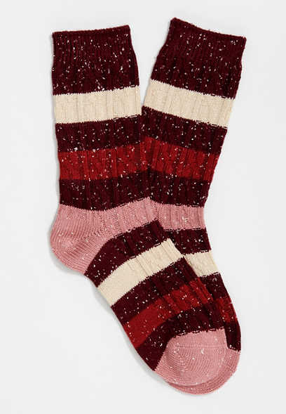 Burgundy Colorblock Marled Crew Sock