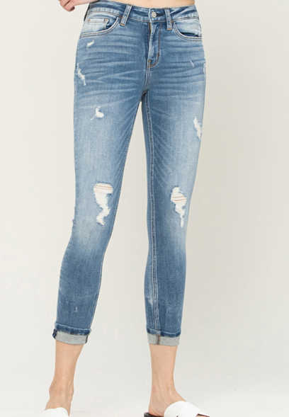 Flying Monkey™ Medium Destructed Cropped Skinny Jean