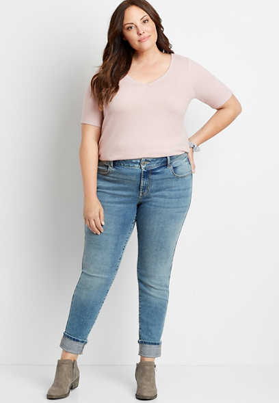 Plus Size DenimFlex™ Medium Plaid Cuffed Jegging