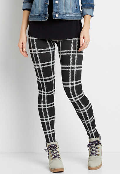 Black Plaid Fleece Lined Legging