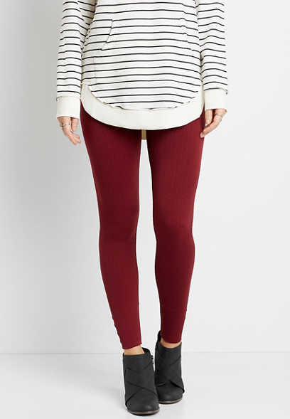 High Rise Wine Cable Knit Fleece Lined Legging