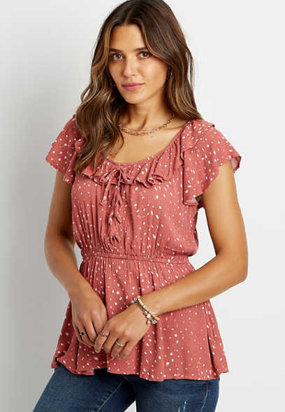 Polka Dot Lace Up Flutter Neck Peplum Top
