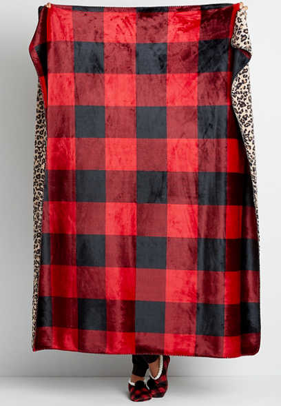 Buffalo Plaid and Leopard Plush Blanket