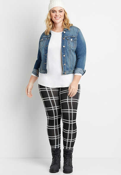 Plus Size Black Plaid Fleece Lined Legging