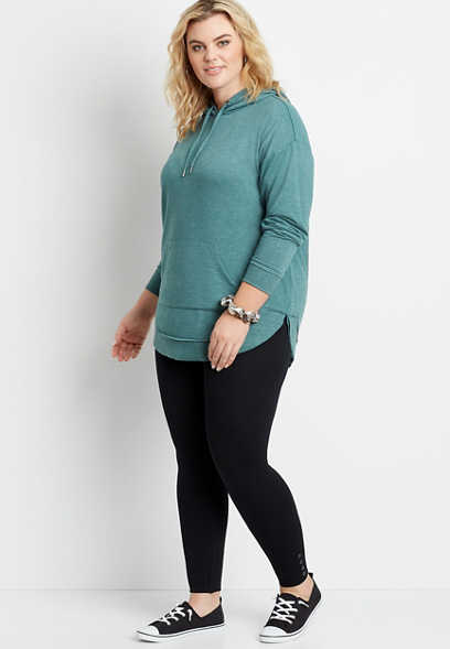 Plus Size Black Cable Knit Fleece Lined Legging