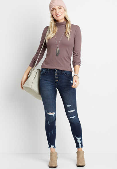 KanCan™ High Rise Dark Button Fly Skinny Ankle Jean