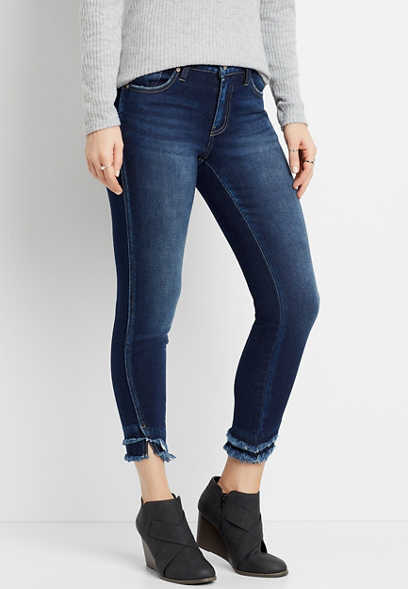 KanCan™ High Rise Dark Double Frayed Hem Skinny Ankle Jean
