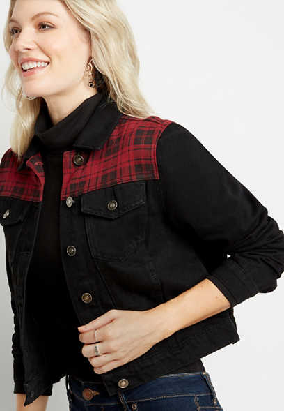 KanCan™ Black Plaid Denim Jacket