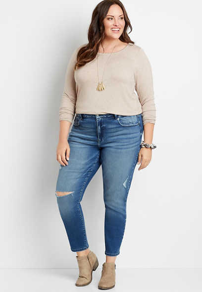 Plus Size KanCan™ High Rise Curvy Acid Wash Skinny Jean