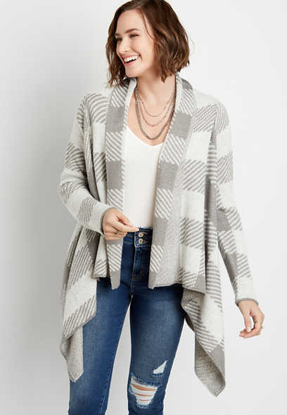 Gray Plaid Waterfall Open Front Cardigan