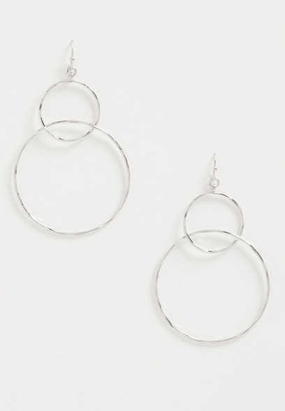 Silver Multi Hoop Drop Earrings