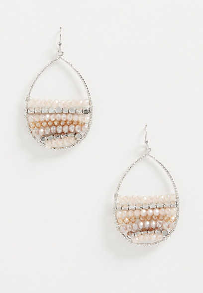 Silver Beaded Teardrop Drop Earrings