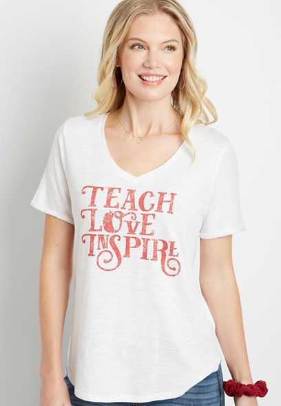 White Teach Love Inspire V Neck Graphic Tee