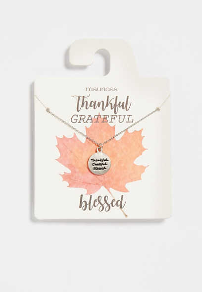 Dainty Thankful Grateful Blessed Necklace