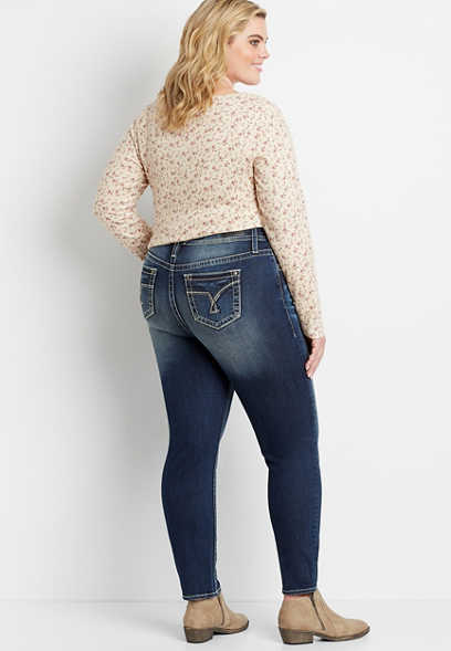 Plus Size Vigoss® Dark Wash White Stitch Skinny Jean