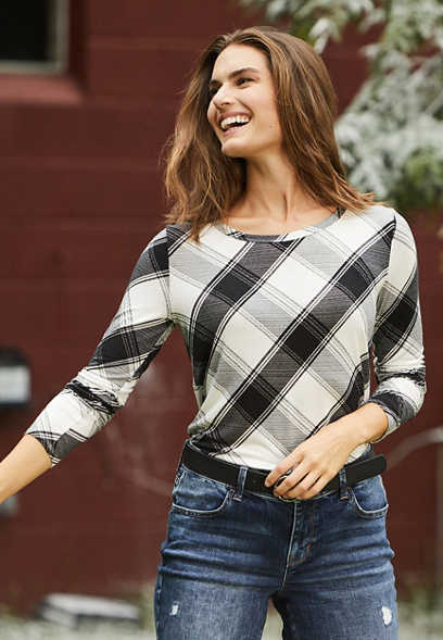 24/7 Black Plaid Long Sleeve Tee