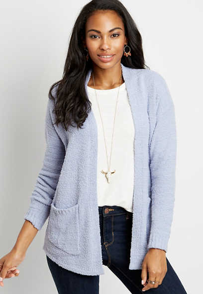 Solid Teddy Open Front Pocket Cardigan