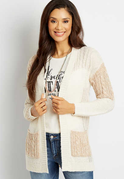 Patchwork Open Front Cardigan