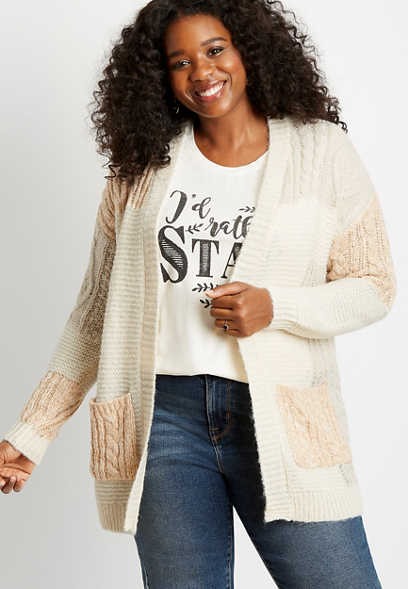 Plus Size Patchwork Open Front Cardigan