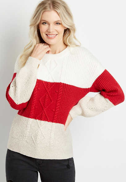Red Colorblock Cable Knit Bobble Pullover Sweater