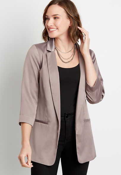Solid Satin Open Front Blazer