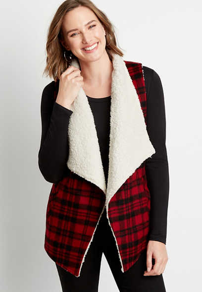 Red Plaid Sherpa Lined Open Front Vest