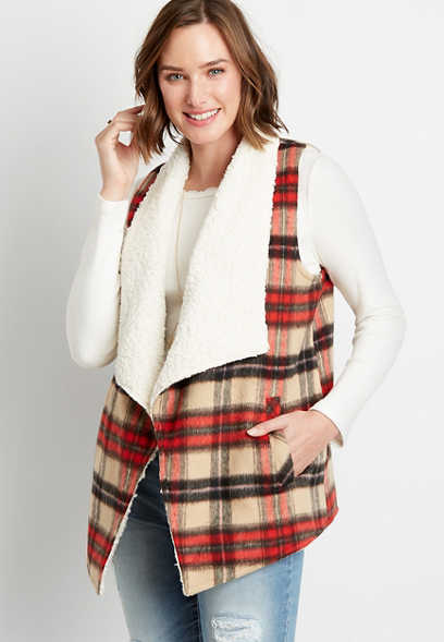 Plaid Sherpa Lined Open Front Vest