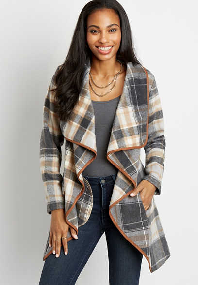 Gray Plaid Tie Waist Jacket