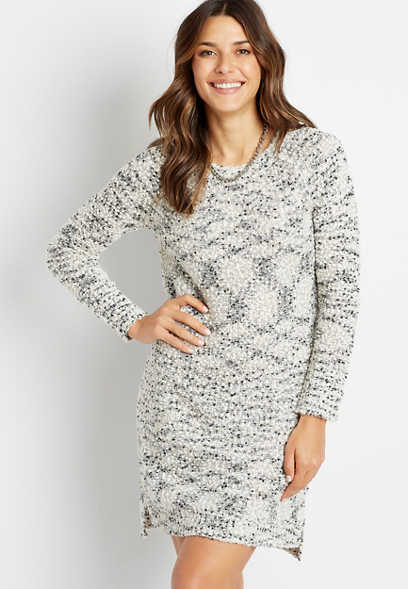 Gray Flecked Sweater Dress
