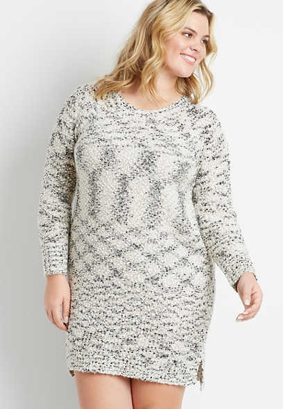 Plus Size Gray Flecked Sweater Dress