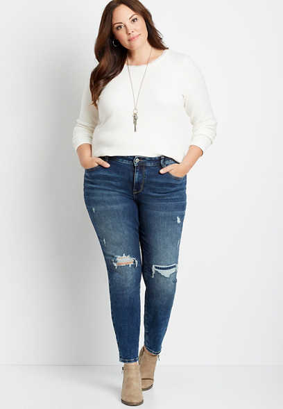 Plus Size DenimFlex™ Dark Houndstooth Backed Destructed Jegging