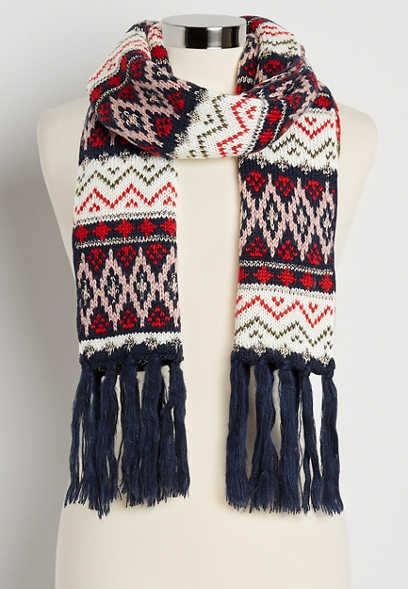 Navy Fair Isle Oblong Scarf
