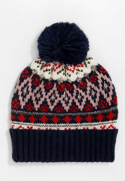 Navy Fair Isle Metallic Pom Hat