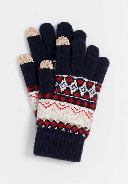 Navy Fair Isle Finger Tech Knit Gloves