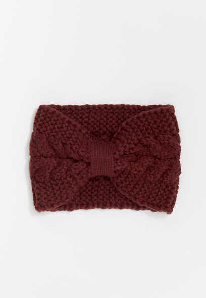 Berry Cable Knit Knotted Headband