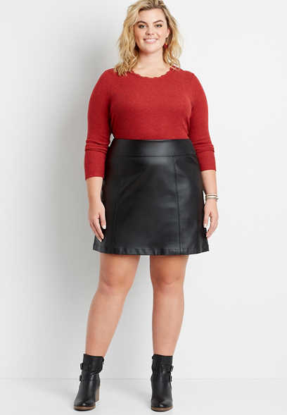 Plus Size Black Faux Leather Bengaline Pull On Skirt