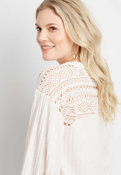Wide Ribbed Lace Back Pullover Top