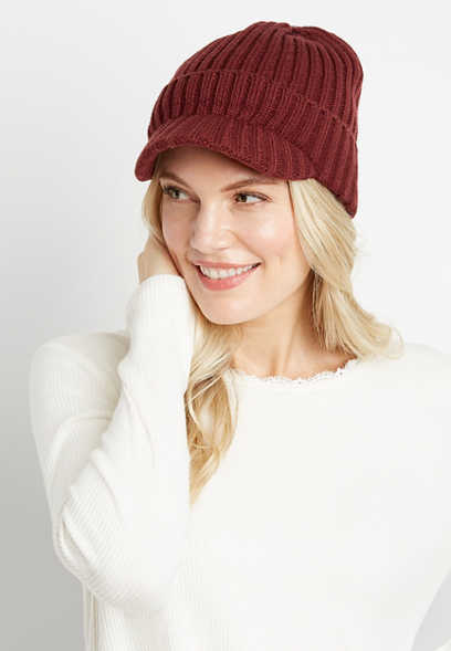 Burgundy Knit Cabbie Hat