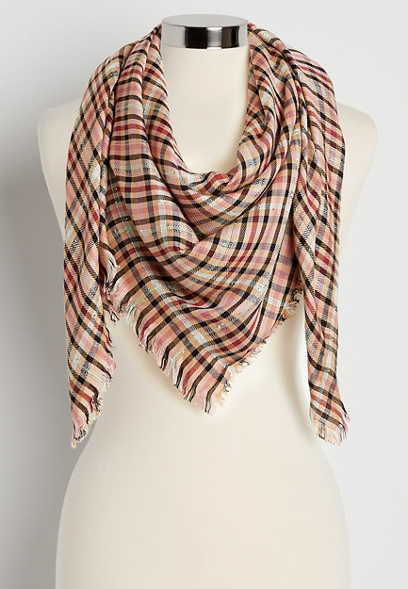 Pink Plaid Sequin Square Scarf