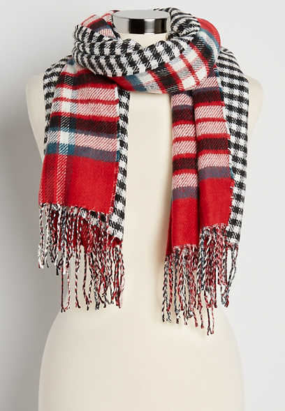 Reversible Red Plaid Oblong Scarf