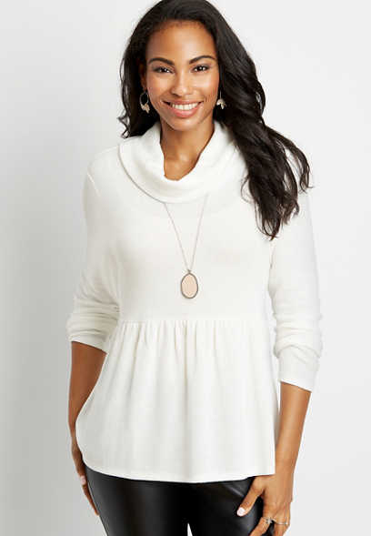 Solid Cowl Neck Grommet Lace Up Back Top