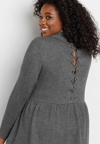 Plus Size Gray Cowl Neck Grommet Lace Up Back Top