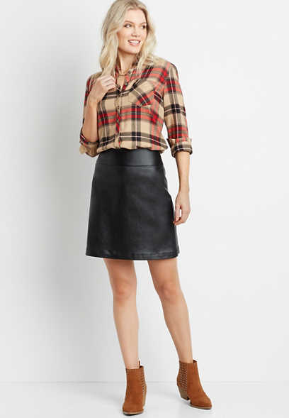 Black Faux Leather Bengaline Pull On Skirt