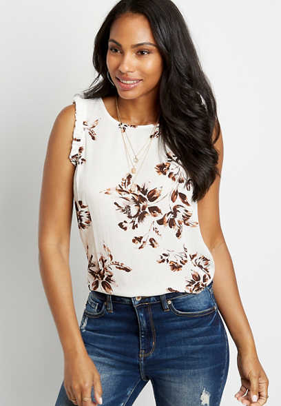 White Floral Ruffle Sleeve Tank Top
