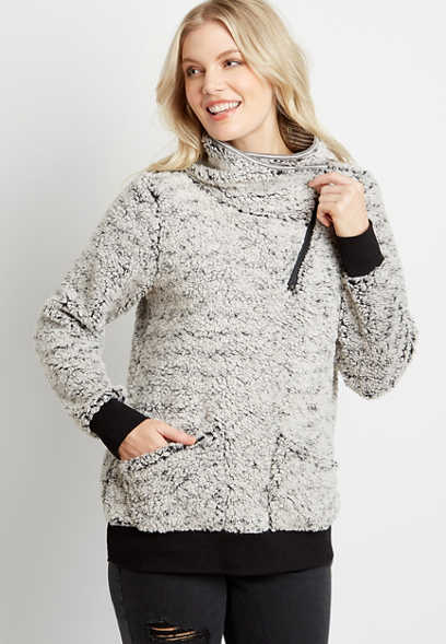 Gray Sherpa Cowl Neck Pullover Sweatshirt